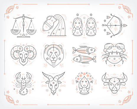 Thin line vector zodiacal symbols. Isolated on white.