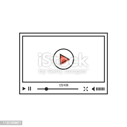 thin line video player interface. concept of e-commerce, podcast, status bar, seo, learning, conference, ui, promotion. linear style trend modern design vector illustration on white background