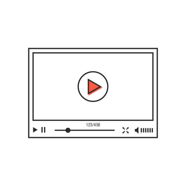 ilustrações de stock, clip art, desenhos animados e ícones de thin line video player interface - video