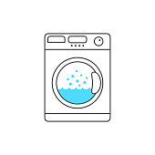 thin line washing machine with blue bubble. concept of launder, fresh apparel, cleanliness, neatness, dryer. linear style trend modern design vector illustration on white background