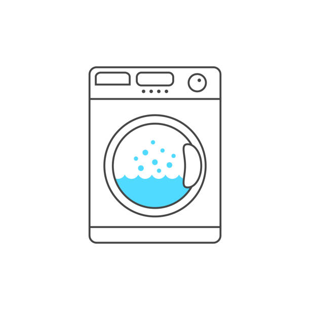 thin line washing machine with blue bubble thin line washing machine with blue bubble. concept of launder, fresh apparel, cleanliness, neatness, dryer. linear style trend modern design vector illustration on white background washing stock illustrations