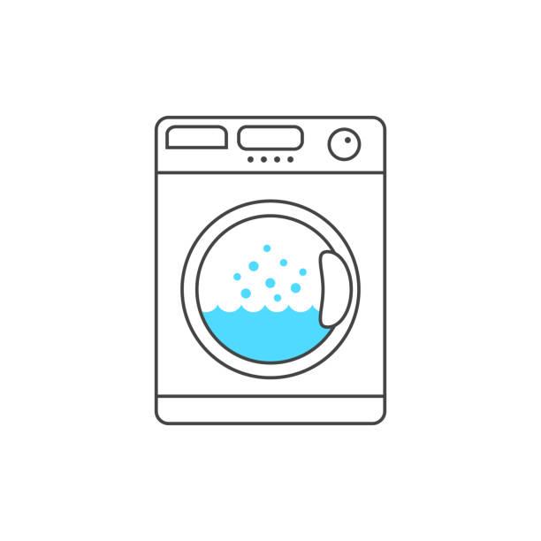 dünne waschmaschine mit blauer blase - waschmaschine stock-grafiken, -clipart, -cartoons und -symbole