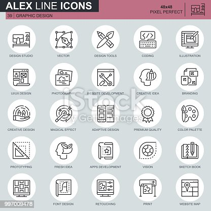 Thin line web and graphic design icons set for website and mobile site and apps. Contains such Icons as Studio, App Development, Retouching. 48x48 Pixel Perfect. Editable Stroke. Vector illustration.