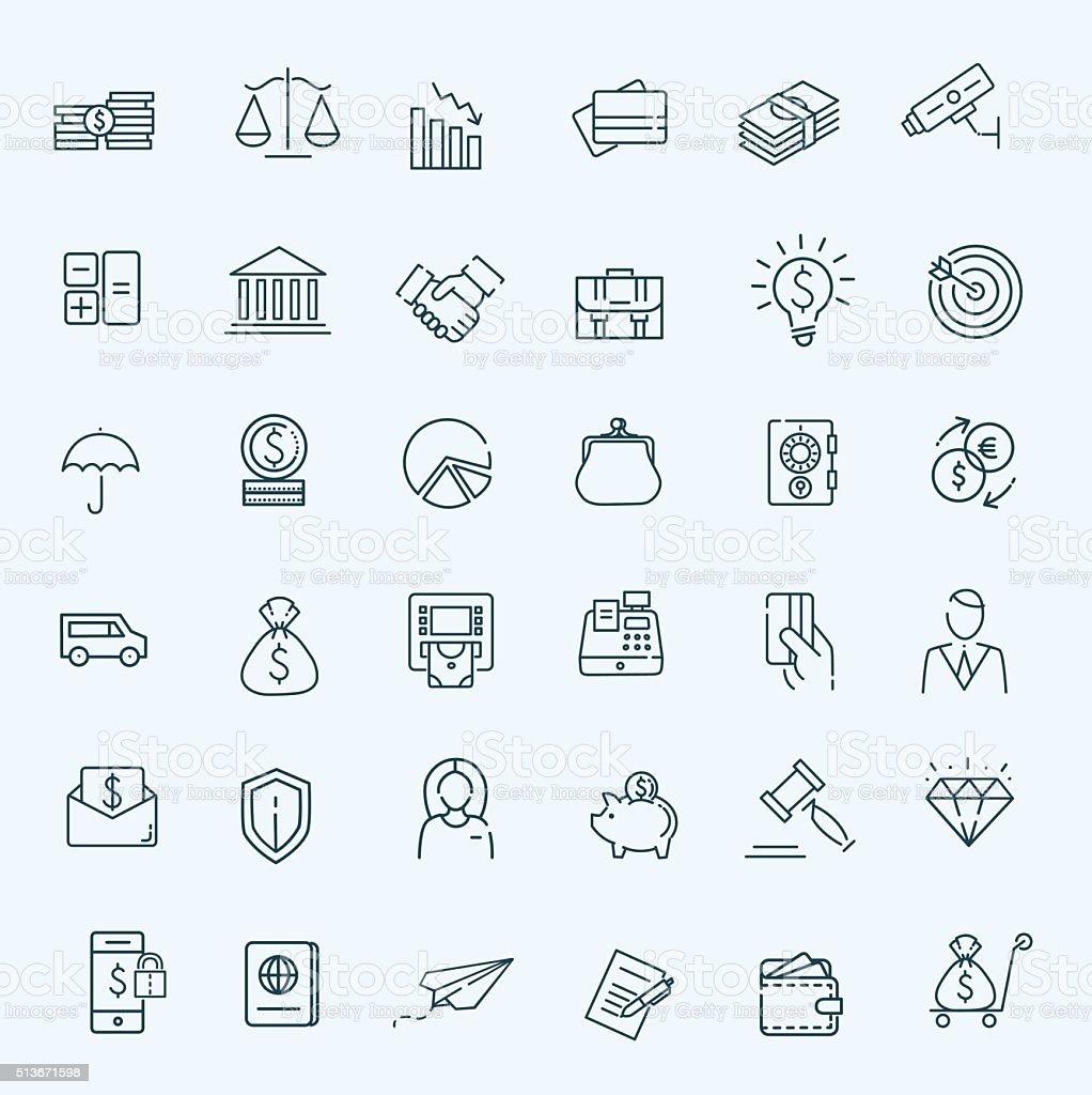Thin line web icon set - money, finance, payments vector art illustration