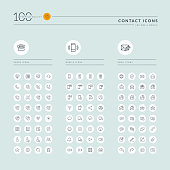Thin line web icons collection for contact us