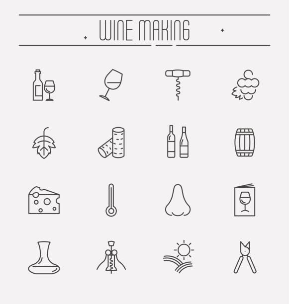 Iconos de vino y vino de la delgada línea sistema aislado sobre fondo blanco. Ilustración de vector. - ilustración de arte vectorial