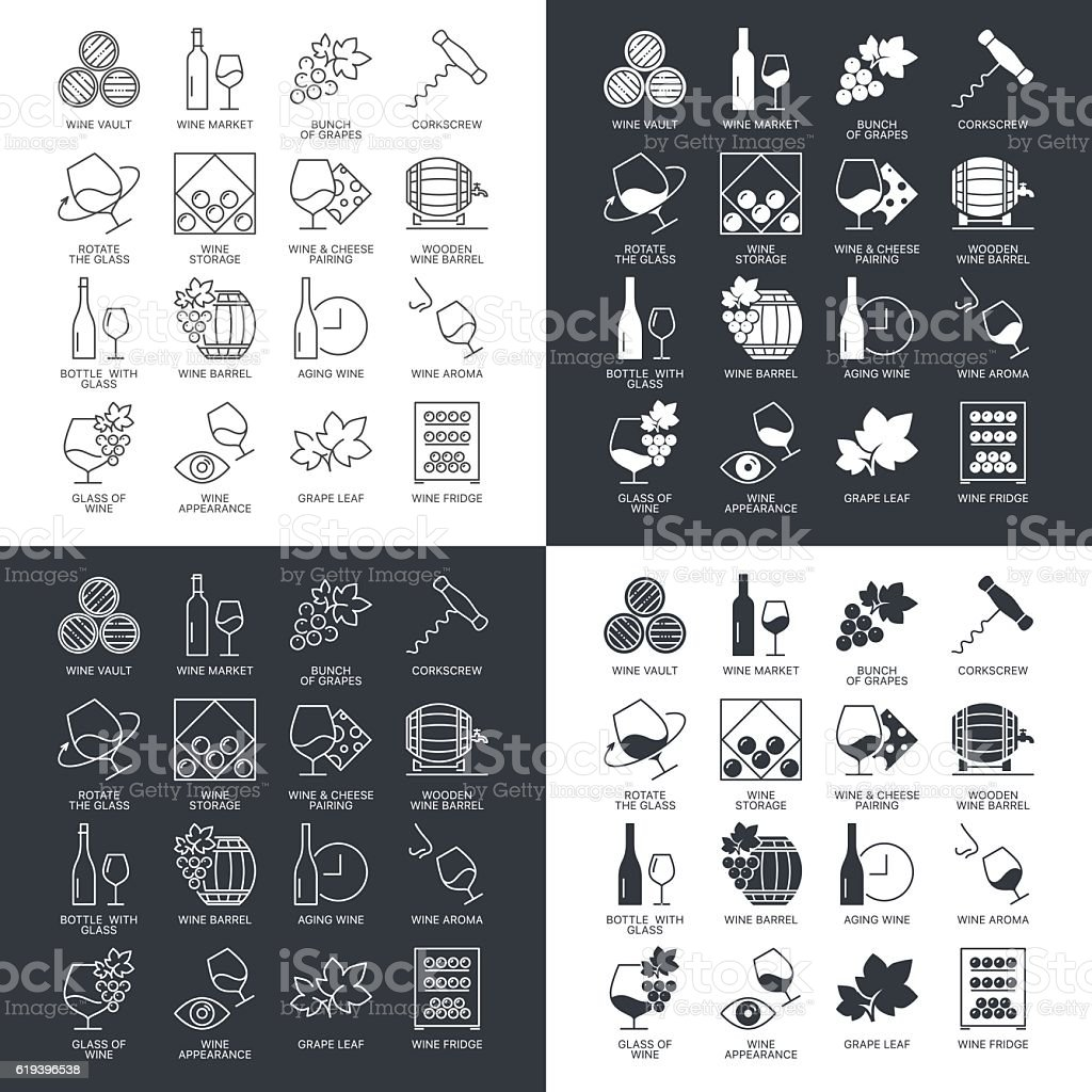 Thin line wine icons set isolated on dark and white.
