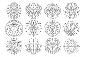 Thin line zodiacal signs. Astrology, horoscope symbols, design elements. Isolated on white. Vector illustrations