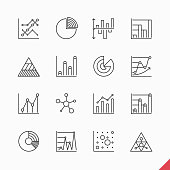 Thin linear business data market infographic elements icons set with variety of bar, pie, area charts. Vector illustration with transparent effect. Eps10.