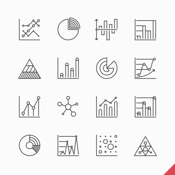 stockillustraties, clipart, cartoons en iconen met thin linear business data market infographic elements - orthografisch symbool