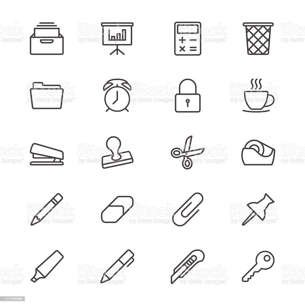 Thin Lined Office Supplies Icons Royalty Free Thin Lined Office Supplies  Icons Stock Vector Art