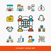 Thin lines connection icons outline set of big data center group cloud computing system internet protection password access technical instrument vector illustration