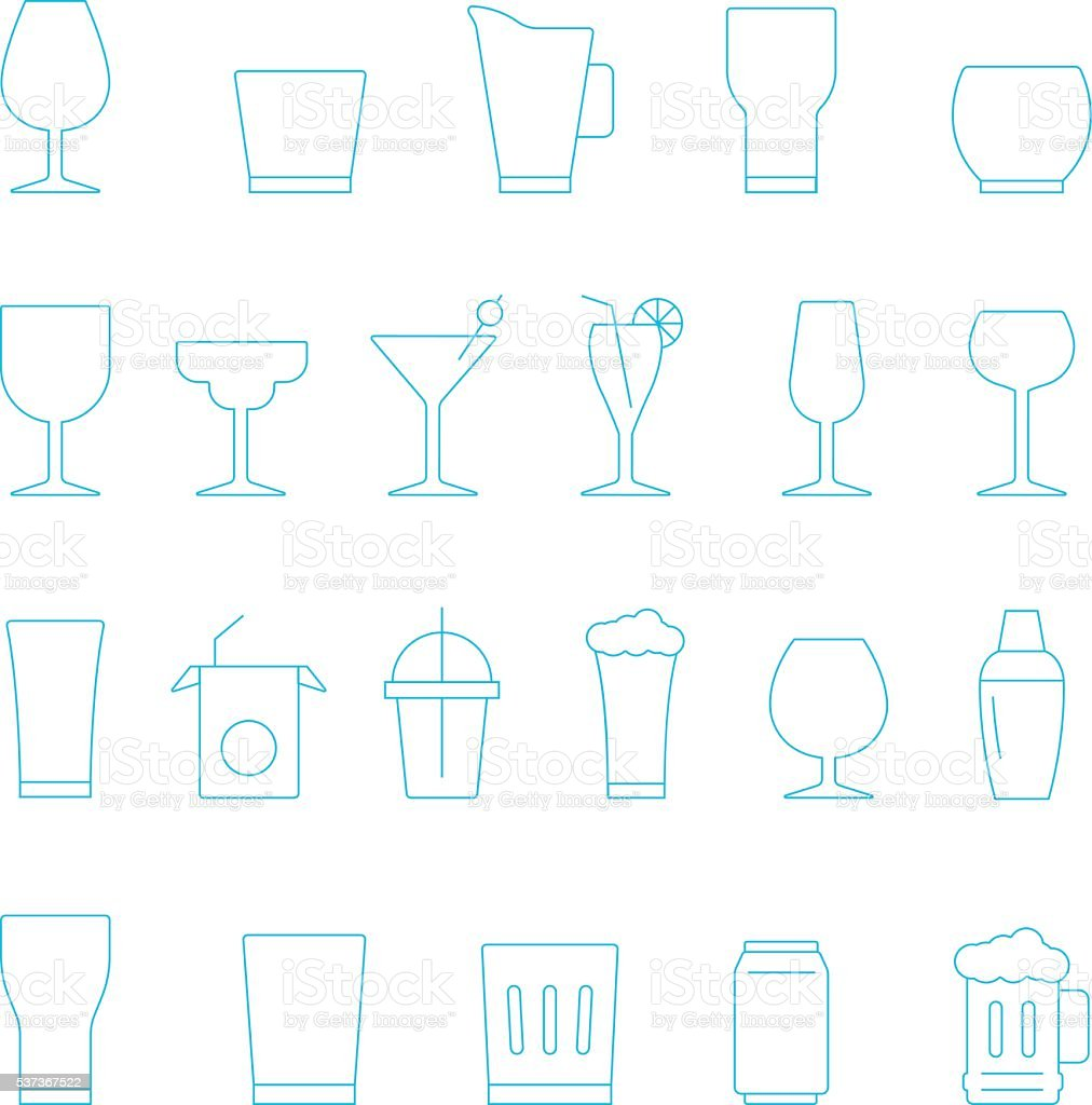 Linee sottili gruppo di icone-vetro e bevande - illustrazione arte vettoriale