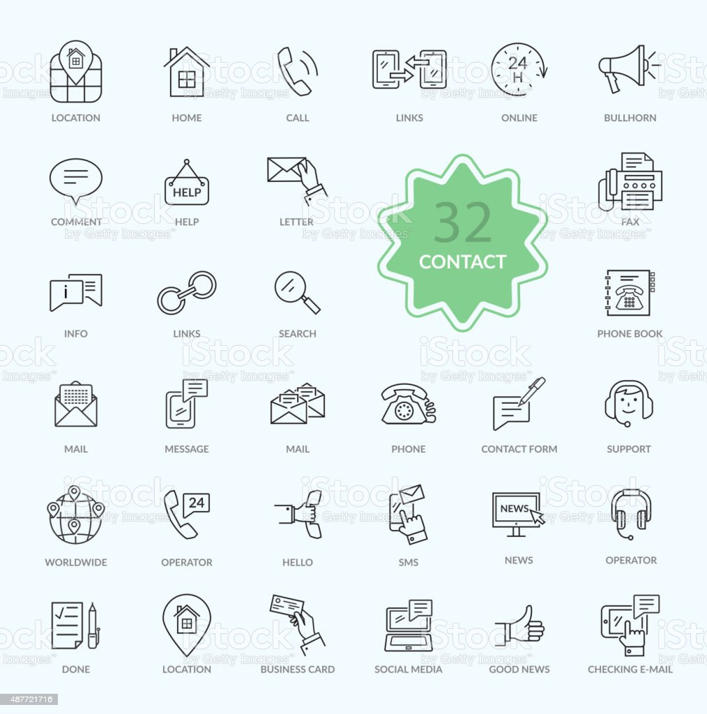 Thin Lines Icons of Contact vector art illustration