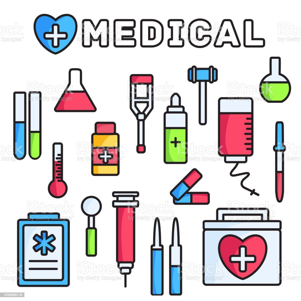 thin lines style medical equipment set icons concept background vector art illustration