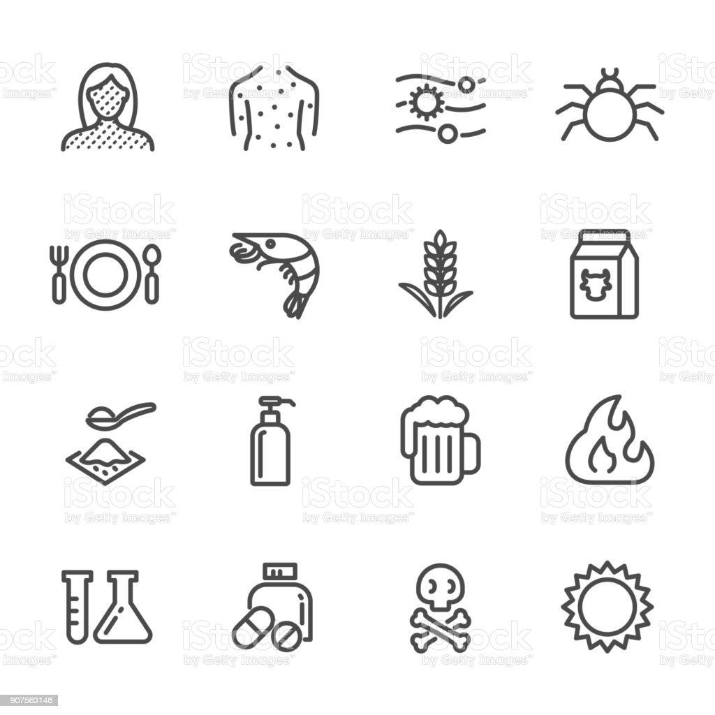 Dünne Linien web Icon-Set. Bewirkt, dass chronische Allergien und Allergie-Symptome und Behandlung. Vektor-Liniensymbol – Vektorgrafik