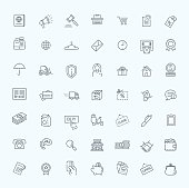 Thin lines web icons set - E-commerce, payment