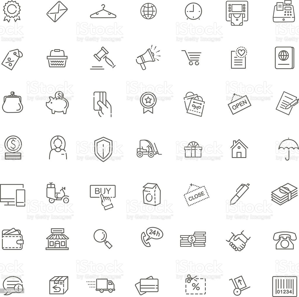 Thin lines web icons set - E-commerce, shopping vector art illustration