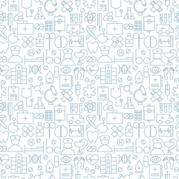 細い医療ラインヘルスケアホワイトのシームレスなパターン - 医療機器点のイラスト素材/クリップアート素材/マンガ素材/アイコン素材