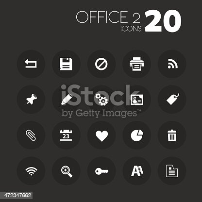 istock Thin office 2 icons on dark gray 472347662