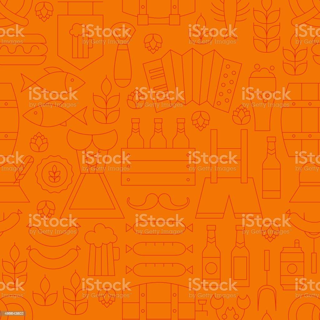 Thin Oktoberfest Line Alcohol Beer Orange Seamless Pattern vector art illustration