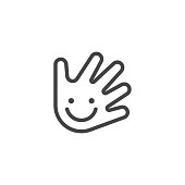 Thin Outline Icon Hand and Smile. Such Line sign as Fine Motor Skills, Preschool Learning, or Logo Daycare. Vector Computer Custom Isolated Pictograms EPS, for Web on White Background Editable Stroke.