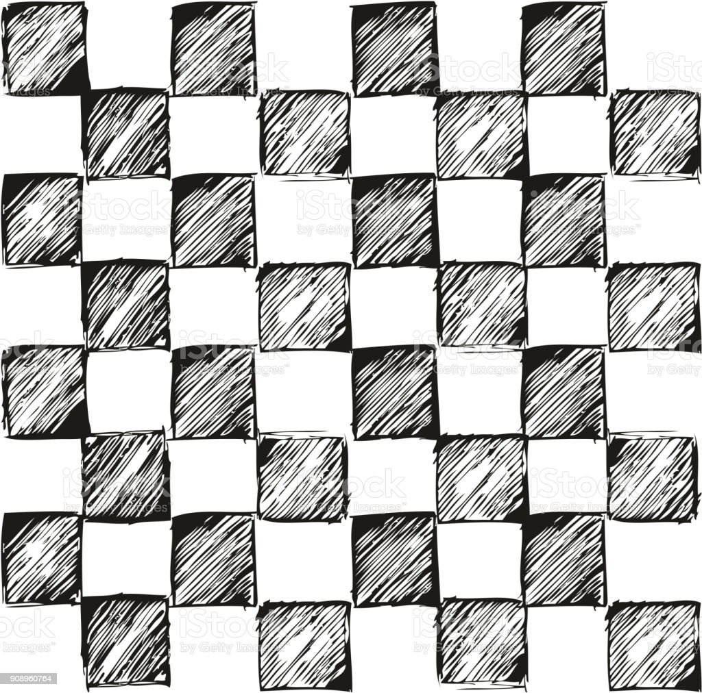 Thin Pen Doodle Checkered Simple Seamless Vector Pattern or Seamless Vector Background vector art illustration