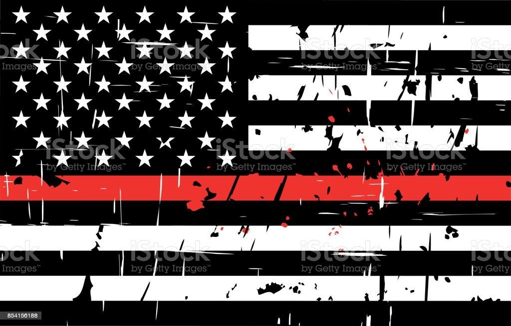 Thin Red Line flag vector art illustration