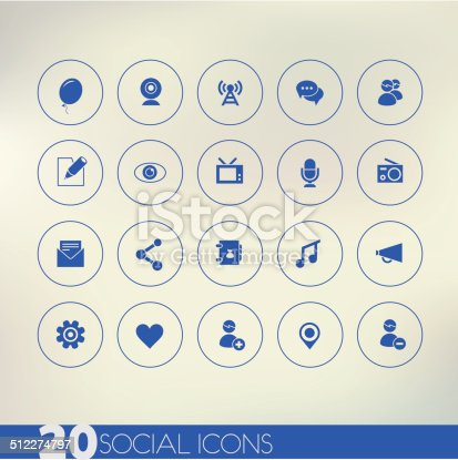 istock Thin simple social blue icons on light background 512274797