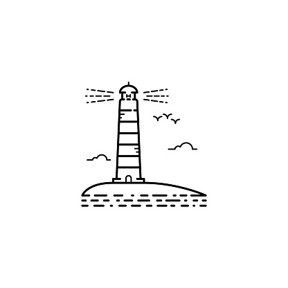 Thin stroke outline vector lighthouse icon. Sea tower logo with ocean wave, sky and birds seagull.