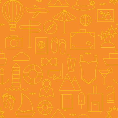 Thin Summer Holiday Line Vacation Resort Seamless Orange Pattern