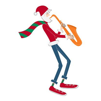 Thin tall modern Santa Clause playing saxophone.