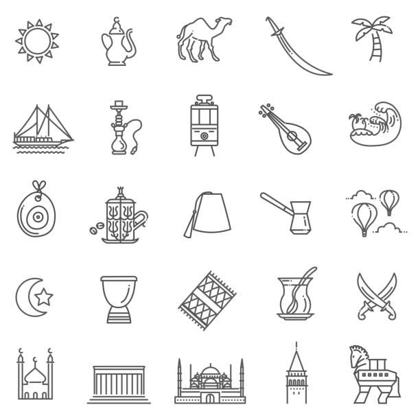 Dünne Vektor Türkei-Symbol-Icon-set – Vektorgrafik
