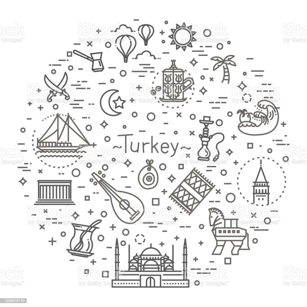 İnce vektör Türkiye sembol simge seti vektör sanat illüstrasyonu