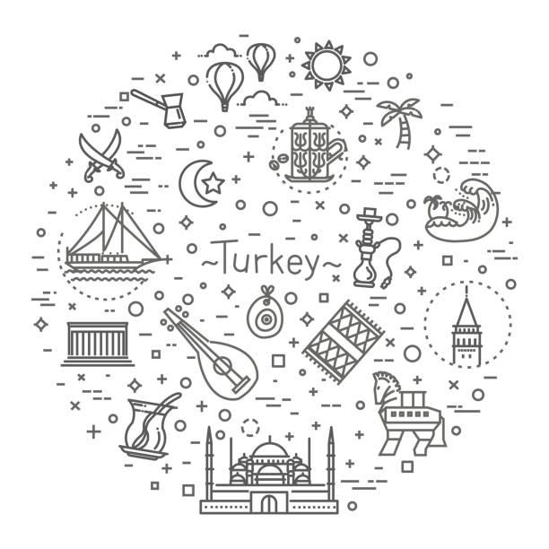 dünne vektor türkei-symbol-icon-set - alanya stock-grafiken, -clipart, -cartoons und -symbole