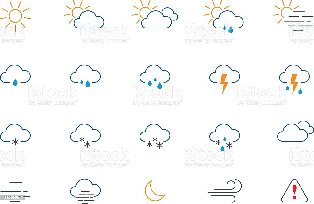 Thin Weather Colour Icon Set Stock Vector Art & More Images of ...