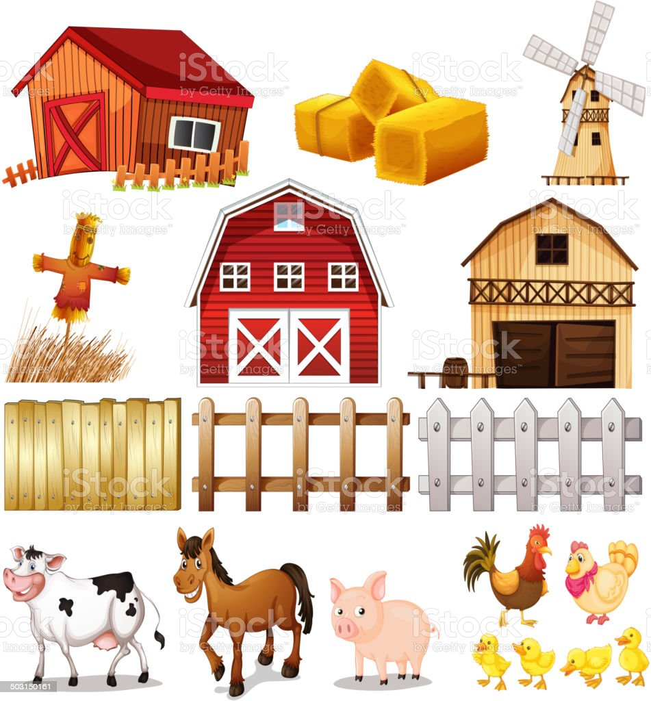 Things and animals found at the farm vector art illustration