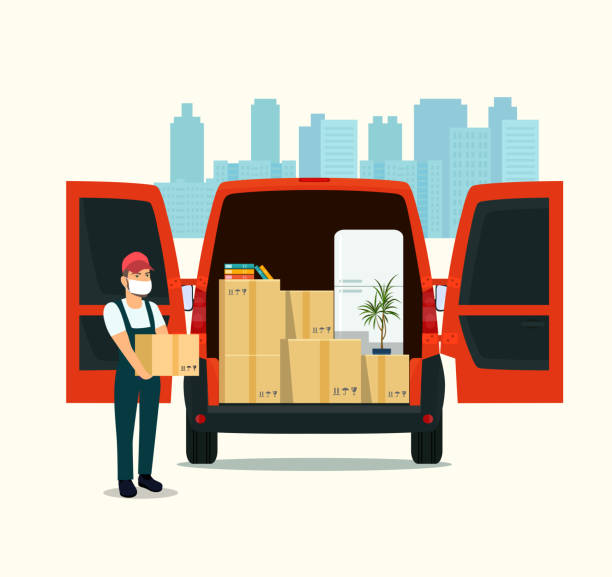 Things in box in the trunk of the cargo van. Man in a medical mask with cardboard boxes. Moving House. Vector flat style illustration. vector art illustration