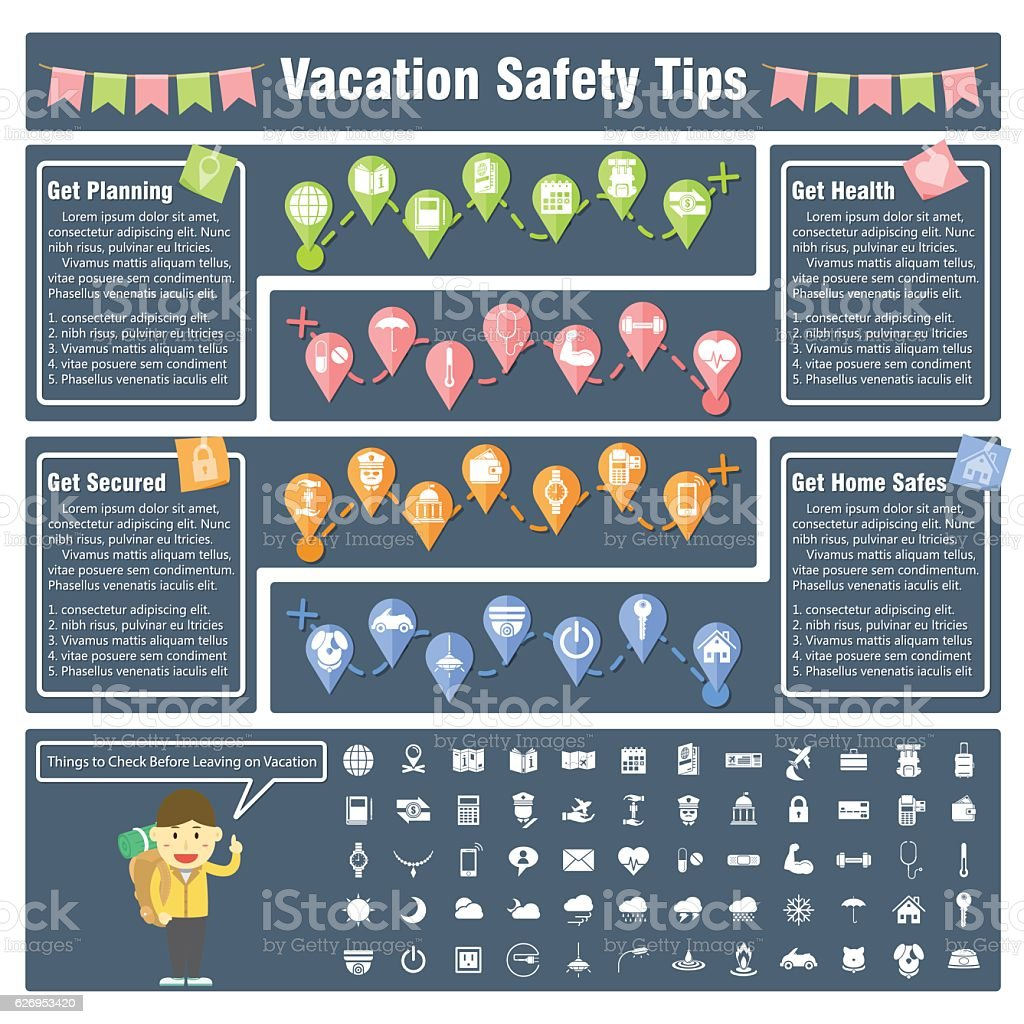 Things to Check Before Leaving on Vacation and Holiday vector art illustration