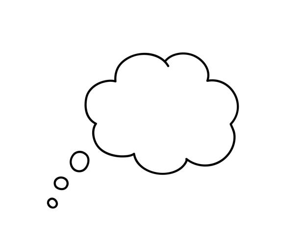Think bubble isolated on white background. Think bubble isolated on white background. Vector think bubble in flat style. Trendy element for social network and print design. dreamlike stock illustrations