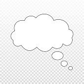 Think bubble isolated. Trendy think bubble in flat style. Modern template for social network and label. Creative thought balloon. Cloud line art, vector illustration