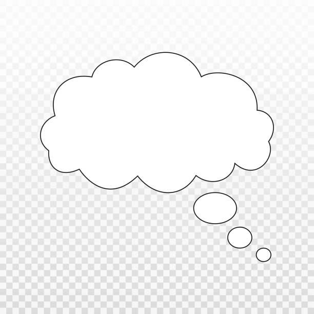 ilustraciones, imágenes clip art, dibujos animados e iconos de stock de piensa en burbujas aisladas. de moda think burbuja en estilo plano. plantilla moderna para red social y etiqueta. globo de pensamiento creativo. arte de línea de nube, ilustración vectorial - soñar despierto