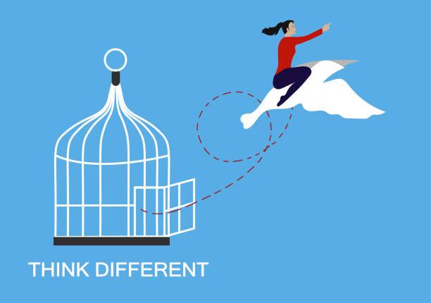 ilustrações, clipart, desenhos animados e ícones de pense em conceito diferente e de liberdade. - escapismo