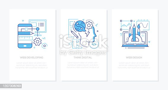 Think digital - vector line design style banners set with place for text. Web developing and design ideas. Linear illustrations with icons. Mobile app development, project management, IT specialist