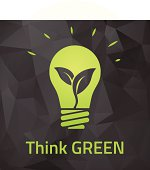 Think green eco bulb on dark origamei background