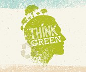 Think Green Recycle Reduce Reuse Eco Poster. Vector Creative Organic Illustration On Paper Background.