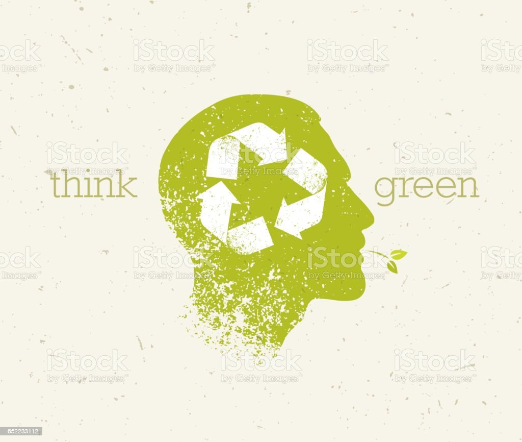 Think Green Recycle Reduce Reuse Eco Poster. Vector Creative Organic Illustration On Paper Background. vector art illustration
