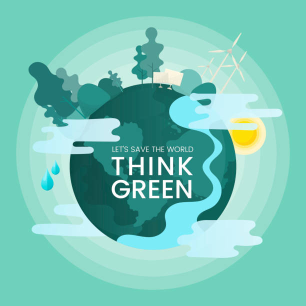 illustrazioni stock, clip art, cartoni animati e icone di tendenza di think green - climate change