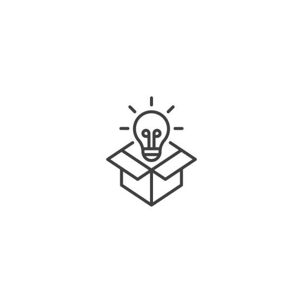 stockillustraties, clipart, cartoons en iconen met denken uit de doos, creatieve lijn pictogram vector - uitvinding