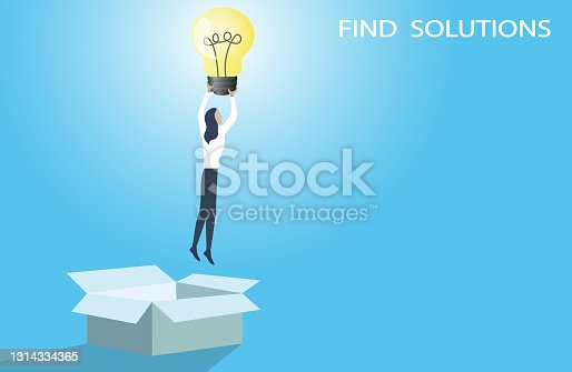 istock Think outside the box business concept.Businesswoman flying with lightbulb. 1314334365
